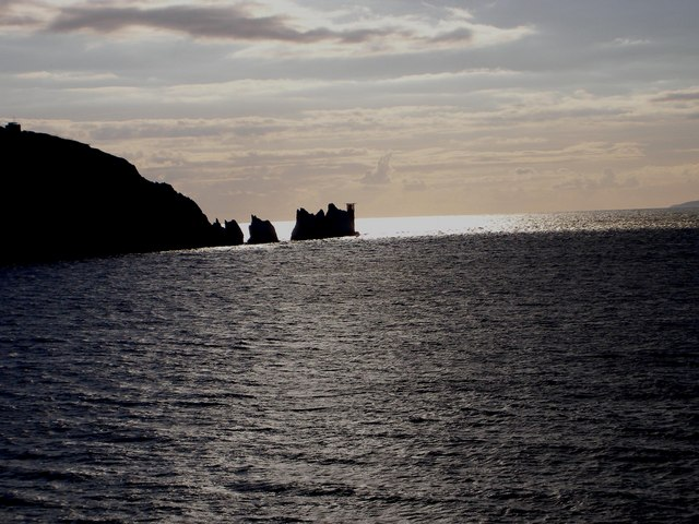 Silhouetted  The Needles From Alum Bay