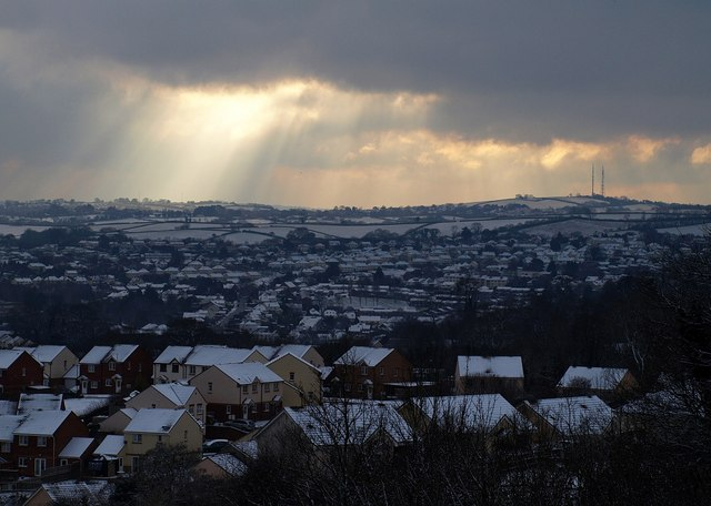 Barton New Town in the snow