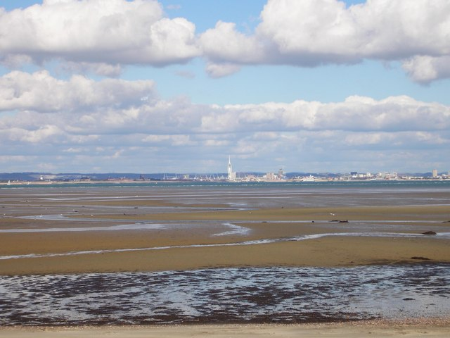 Looking Across Ryde East Sands To Portsmouth's Spinnaker Tower