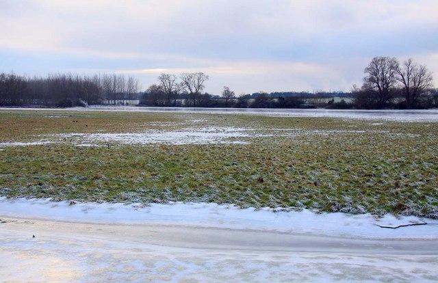 Frozen flooded field at Chiselhampton