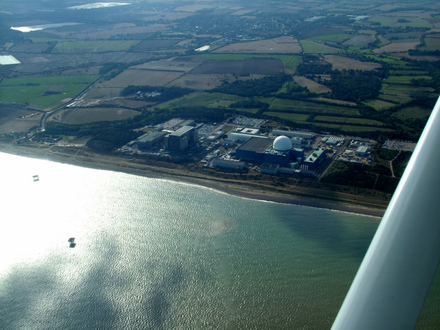 Sizewell A and B nuclear power stations from the air