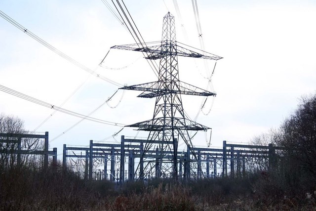Pylon and electricity sub-station at Sandford Brake
