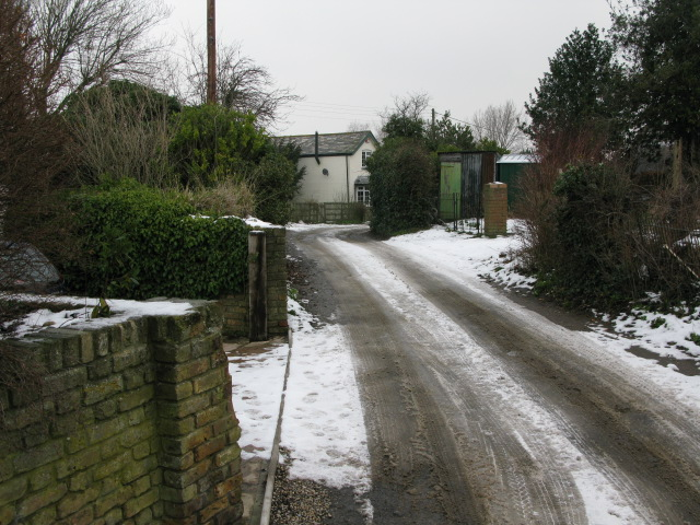 View along lane to Marshborough Farm