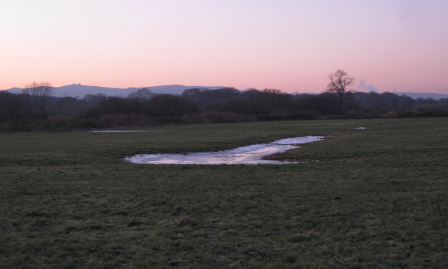 Ice in a field west of Preston, dusk