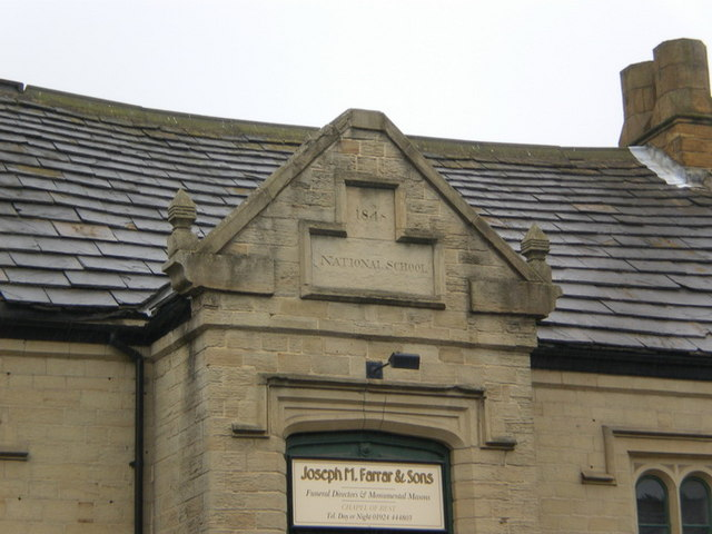 National school c1848, Bradford Road, Batley, Date stone