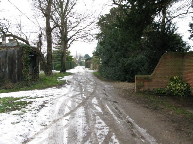 View SW along lane from Marshborough Farm