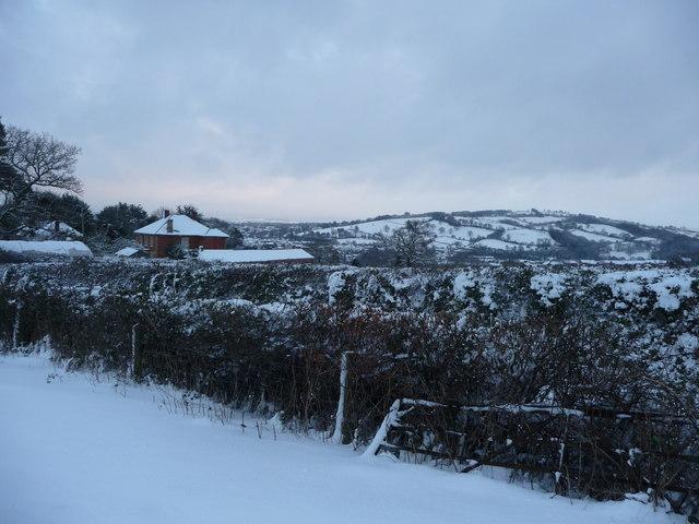 Tiverton : Snow Scene near Tiverton