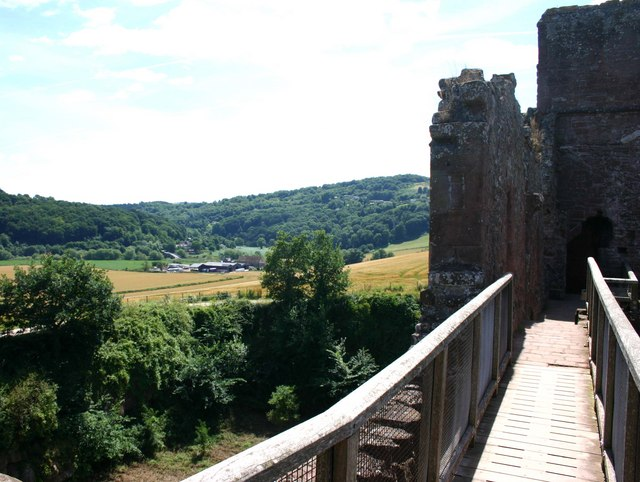 Flanesford Priory & Kerne Bridge from Goodrich Castle