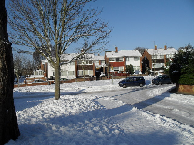 Top end of a snowy Kimbridge Crescent