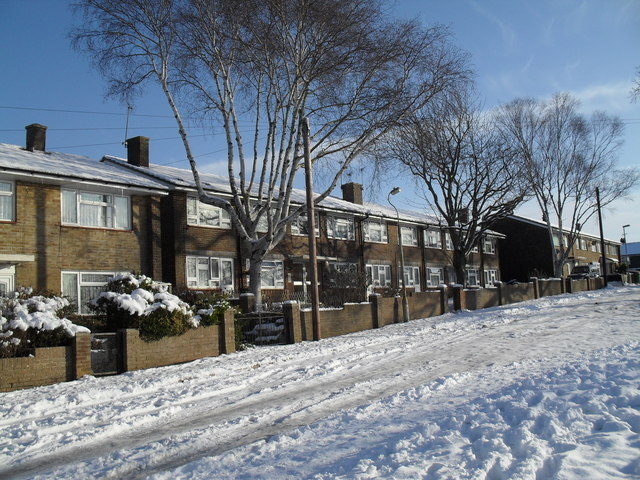 A snowy scene in Longstock Road