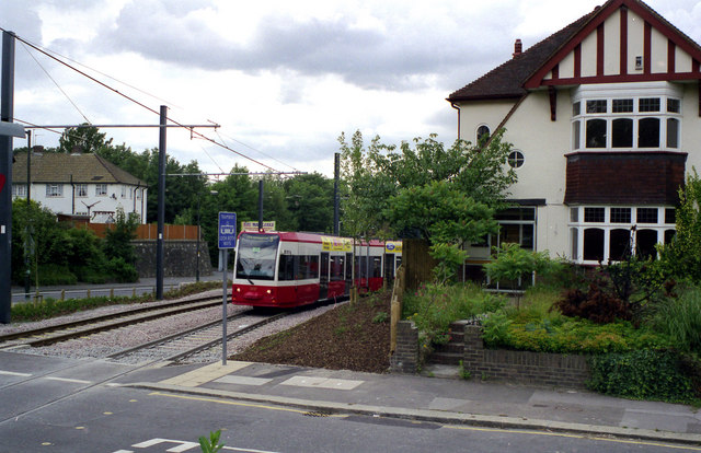 Tram passing the site of 2, Lloyd Park Avenue