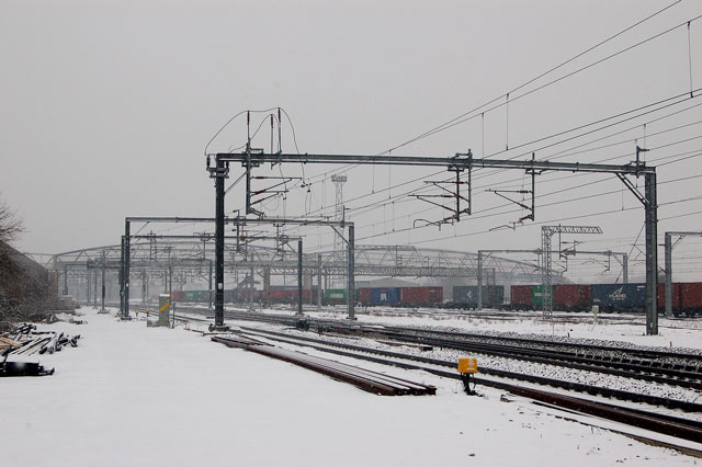 Snow-bound railway west of Rugby station