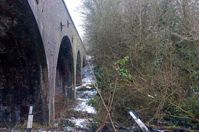 North side of the disused railway viaduct at Birdingbury