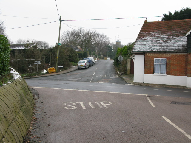 Crossroads by the old Palm Tree pub, Woodnesborough
