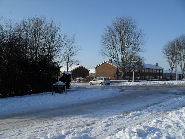 Junction of Baybridge Road and a snowy Prospect Lane