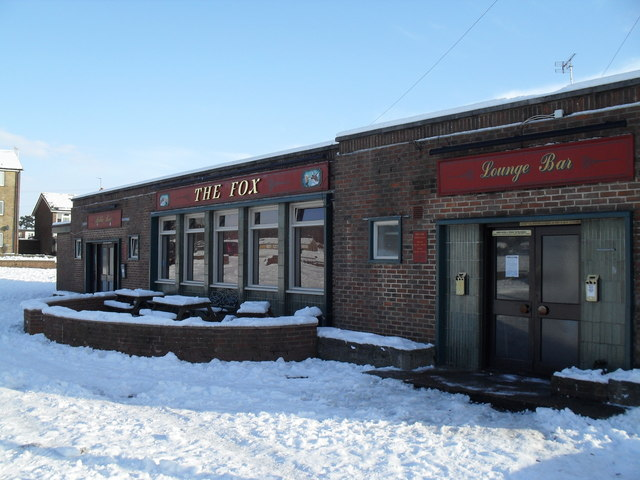 Chilly beer garden at The Fox, West Leigh
