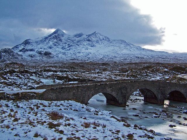 Sligachan bridge and the Cuillin in winter