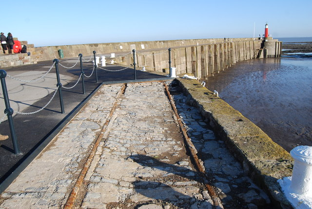 The remains of an old railway on the Quayside, Watchet Harbour