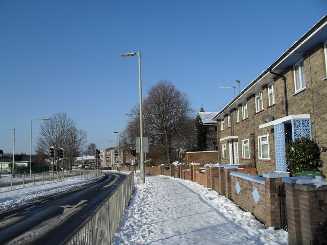 A snowy pavement in Bartons Road