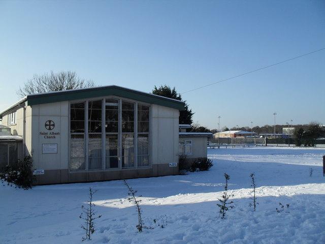 Church hall in a snowy Bartons Road