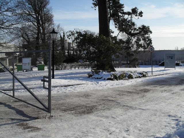 A snowy scene at the business park in Martin Road