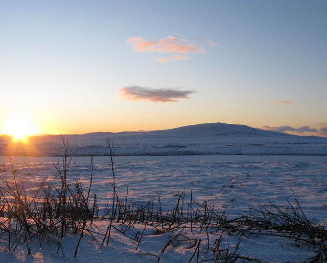 Beinn Bharabhais with snow and sunset