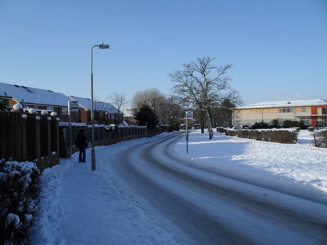 Bus stops in a snowy Martin Road