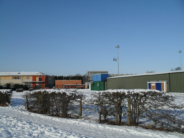 Looking towards the turnstiles at a snowy Havant & Waterlooville FC