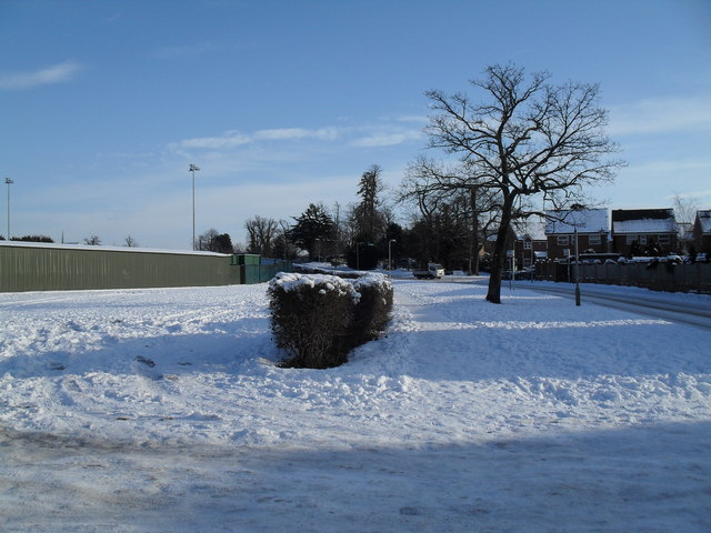 Looking towards the floodlights at a snowy Havant & Waterlooville FC
