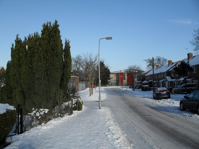 Lamppost in a snowy St Albans Road