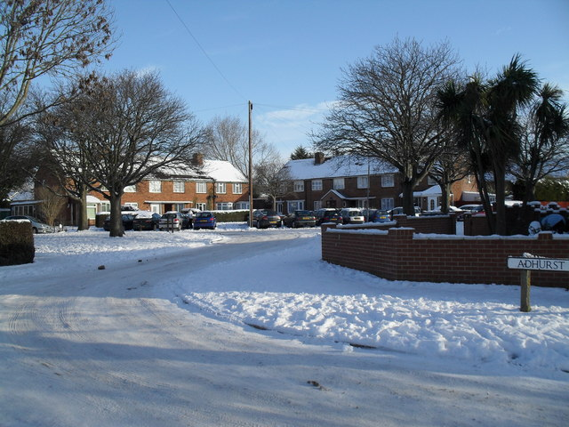 A snowy scene at the junction of Braishfield and Adhurst Roads