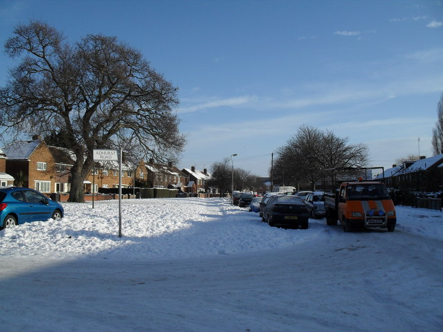 Junction of Adhurst Road and a snowy Abbotstone Avenue