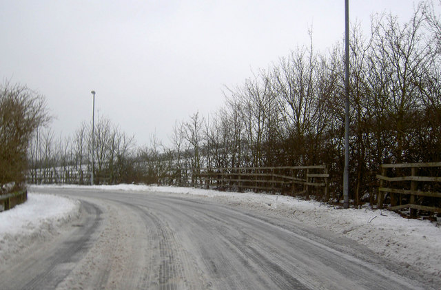 Thick ice remains on Pitt Street Low Valley, Barnsley