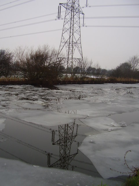 Pylon across frozen canal