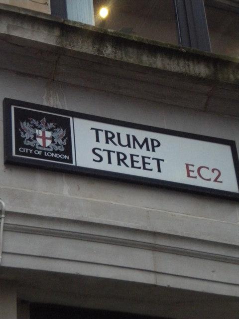 Street sign, Trump Street EC2