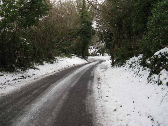 The road from Madehurst descending to the Punchbowl
