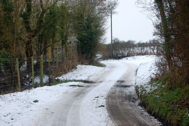 Fishponds Lane, Frankton, on a snowy day