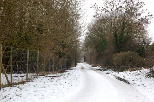 Snow-covered lane to Frankton Grounds near the fishponds