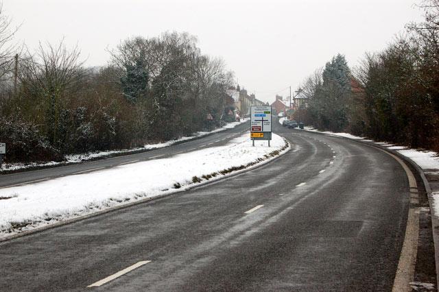 The A45 dual carriageway approaching Dunchurch