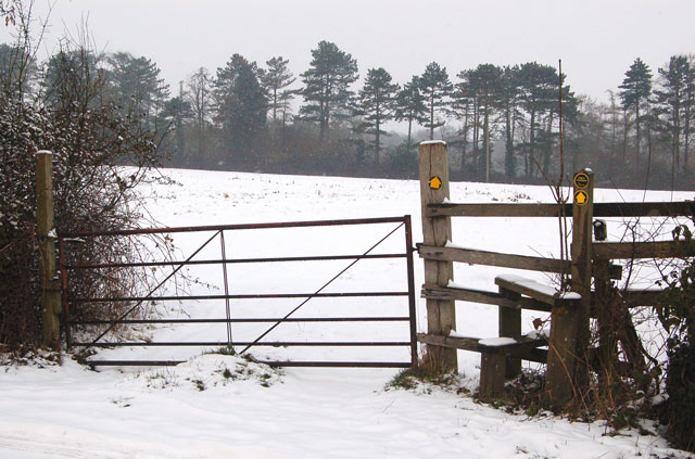 Footpath stile and gate beside A45, Dunchurch