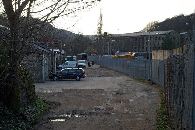 Track past Calderdale Council depot at Hawksclough
