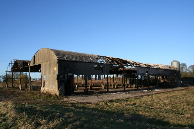 Burnt out barns