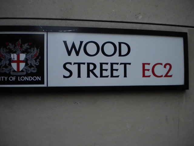 Street sign, Wood Street EC2