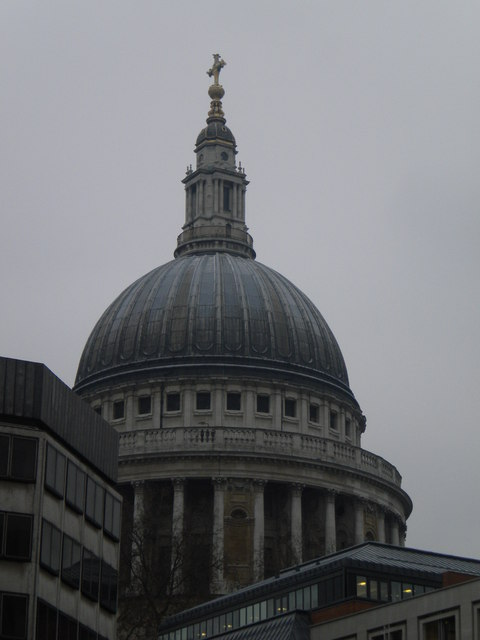 Dome of St Paul's Cathedral from Newgate Street EC1