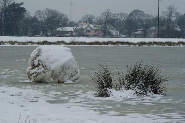 Snow Boulder on Rushmere Pond