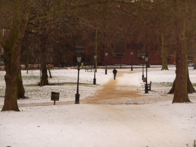 Hyde Park: gritted path on a snowy day