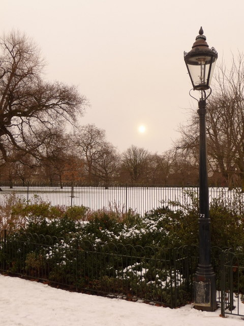 Hyde Park: a lamppost and the disappearing sun