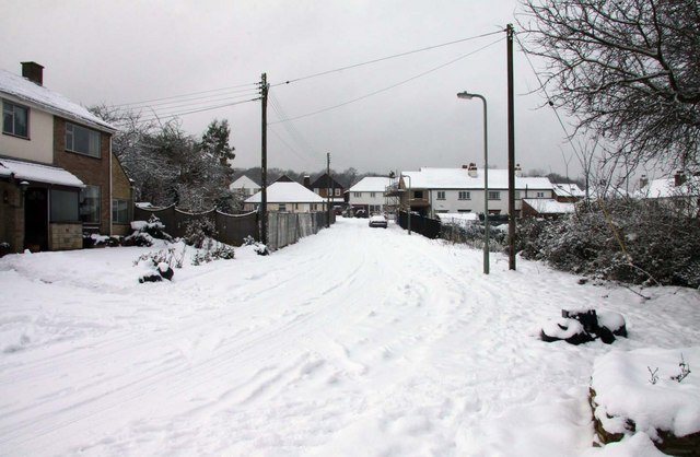 Looking up snow covered Rowles Close