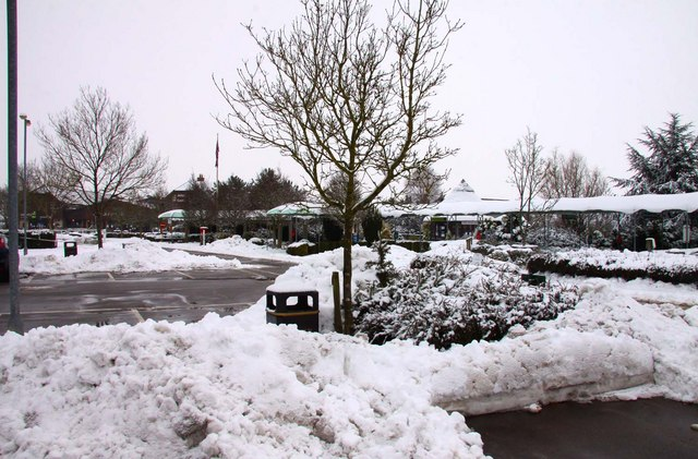 Snow heaps in the car park at Milletts