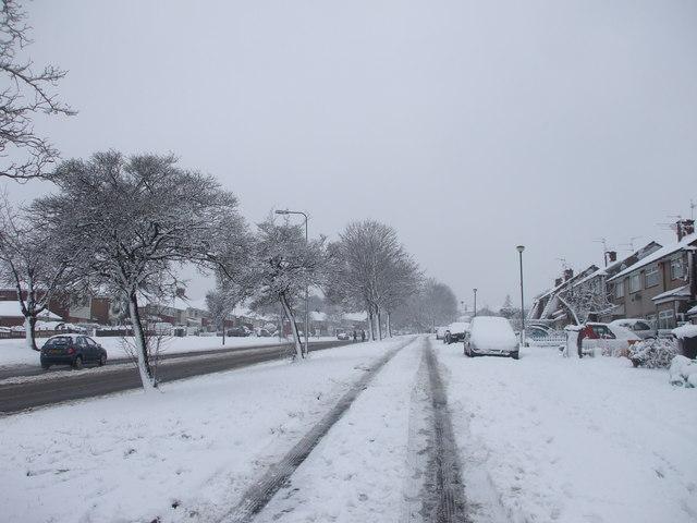Llanedeyrn Rd, Cardiff, on a snowy day